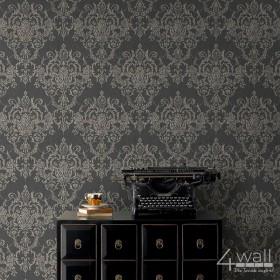 Aranżacja - czarna ściana z tapetą ze złotym wzorem damaski winylowa