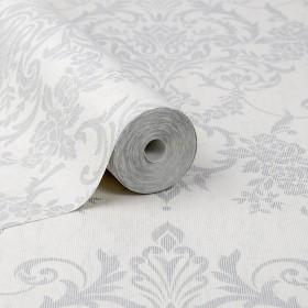 Srebrna tapeta na białym tle w stylu klasycznym elegancki ornament na flizelinie