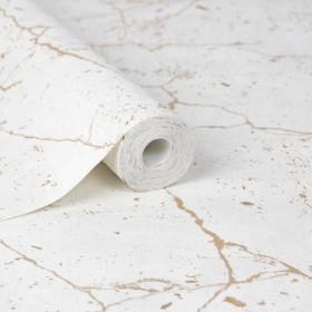 Tapeta w beton geometryczny złote linie