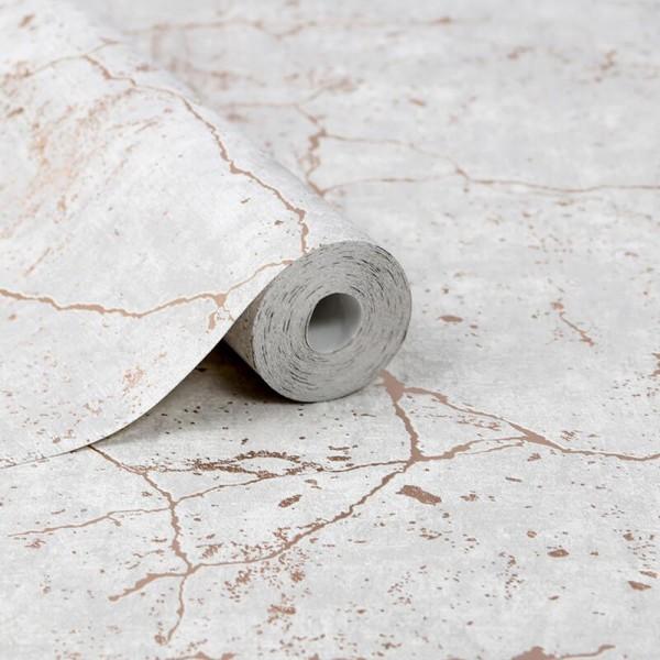 Tapeta w szary beton popękana ze złotem