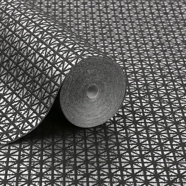 Tapeta ścienna z czarnym wzorem geometrycznym do salonu