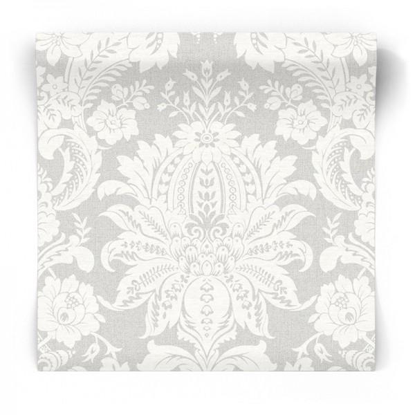 Tapeta w biały ornament na szarym tle 33-373