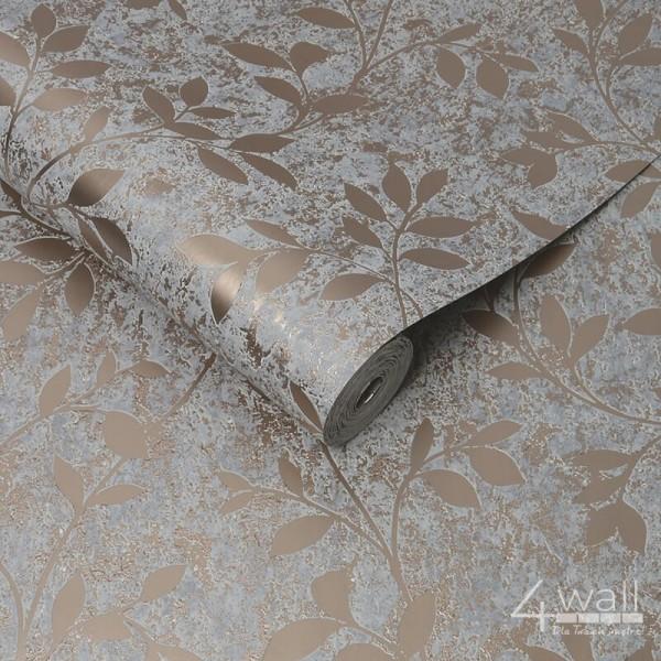 Tapeta laserowa w miedziane kwiaty