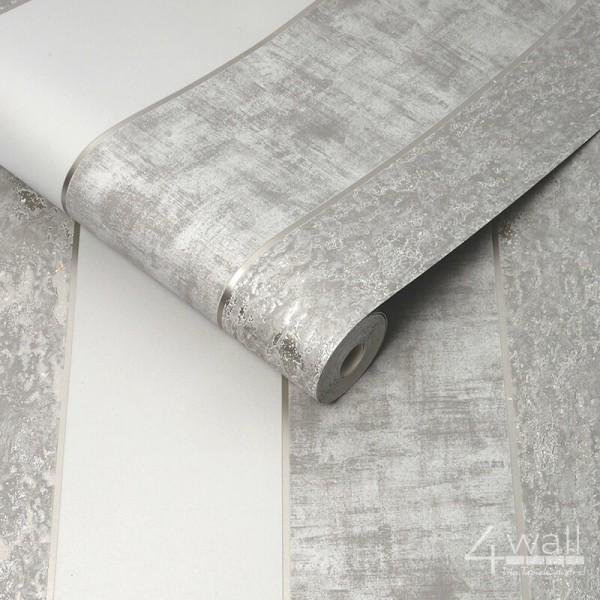 Tapeta w srebrno białe pasy