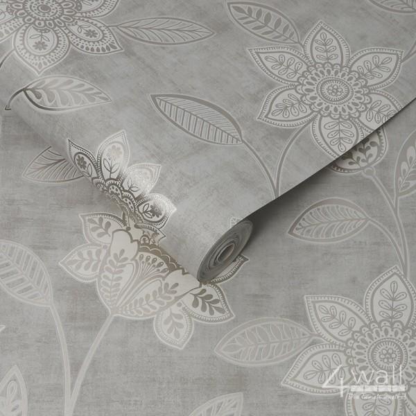 Tapeta w srebrnie świecące liście i kwiaty