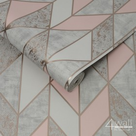 Tapeta w różowe romby i świecące linie