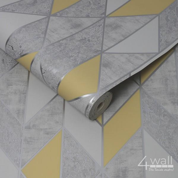 Nowoczesna tapeta geometryczna z żółtym akcentm