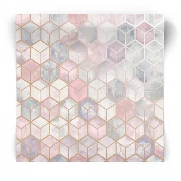 Pastelowa tapeta we wzory 3D 90410