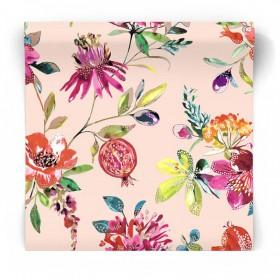 Beżowa tapeta w egzotyczne kwiaty 90432