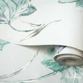 Tapeta ścienna w malowane kwiaty w kolorze miety, bieli i zieleni