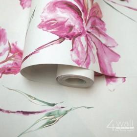 Tapeta w fioletowe kwiaty na białym tle zmywalna na flizelinie