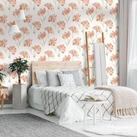 Tapeta w pomarańczowe kwiaty aranżacje sypialni zmywalna