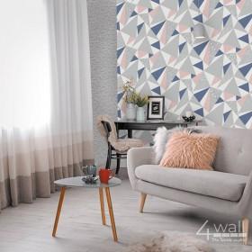 Granatowo szaro biała tapeta w romby 3D do nowoczesnego wnętrza