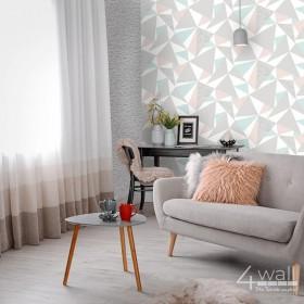 Tapety do salonu 3D aranżacje wnętrz szaro różowo biała tapeta w trójkąty