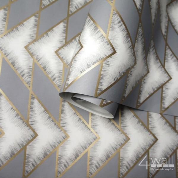 Szaro biało złota tapeta w jodełkę nowoczesną