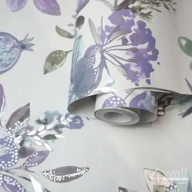 Tapeta w fioletowe kwiaty na białym tle