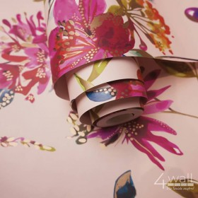 Tapety w stylu egzotycznym na ścianę różowe tropikalne rośliny