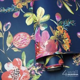 Granatowa tapeta w kwiaty w stylu egzotycznym nowoczesne