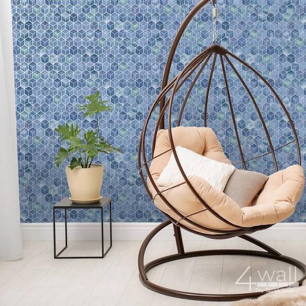 Tapeta w niebieskie romby 3D do pokoju nowoczesne