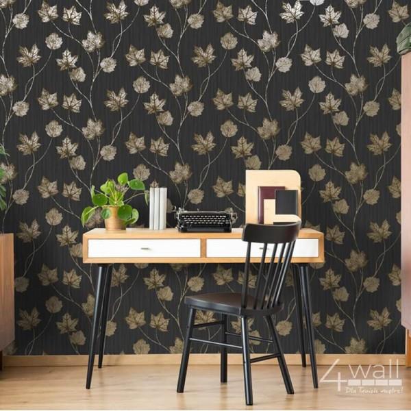 Tapeta ścienna w liście klonu na czarnym tle flizelinowa do biura lub gabinetu