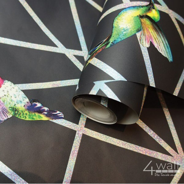 Nowoczesna tapeta geometryczna w kolibry 3D srebrne linie