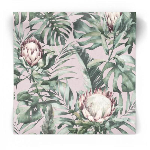 Różowa tapeta w tropikalne kwiaty 90220