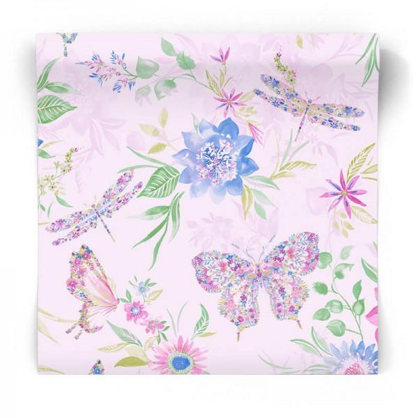 Fioletowa tapeta w kwiaty 90262