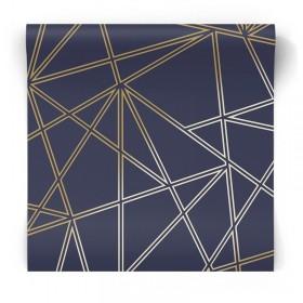 Granatowo złota tapeta geometryczna 90272