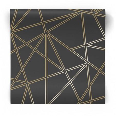 Czarno złota tapeta geometryczna 90274