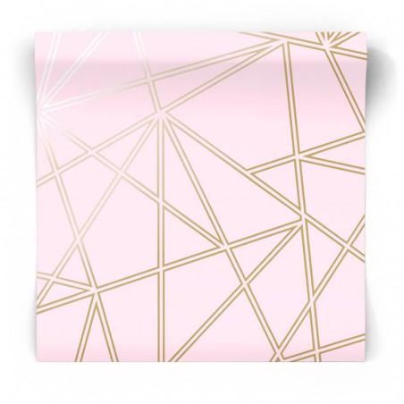Różowo złota tapeta geometryczna 90275
