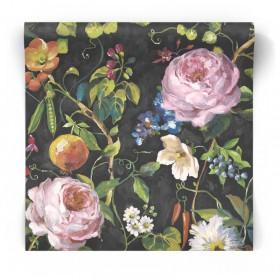 Czarna tapeta w kwiaty Vintage 90350