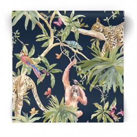 Granatowa tapeta egzotyczne zwierzęta 90560