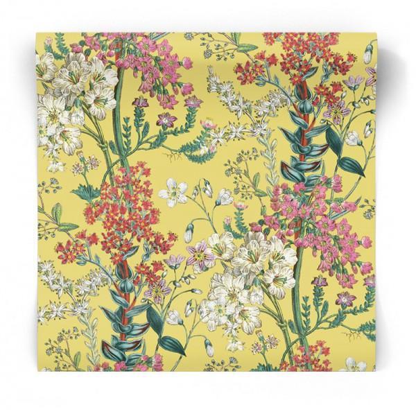 Żółta tapeta w kwiaty 90570
