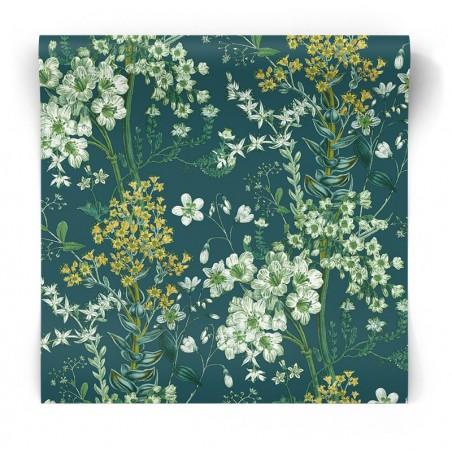Granatowa tapeta w kwiaty 90571