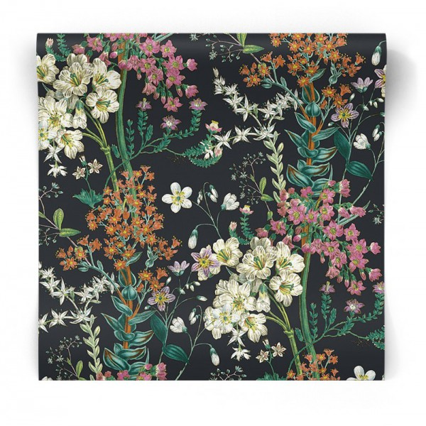 Brązowa tapeta w kwiaty 90572