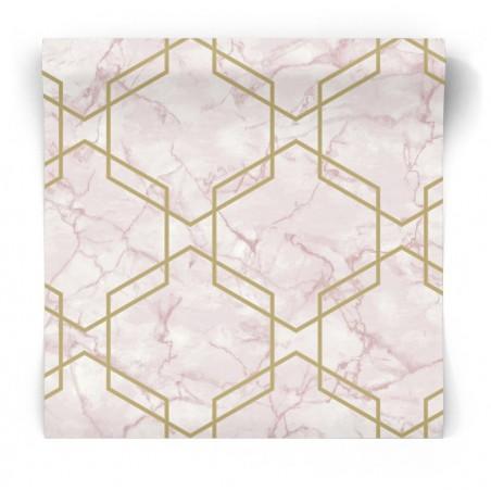 Geometryczna tapeta biały marmur 90601