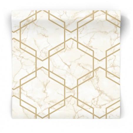 Geometryczna tapeta różowy marmur 90602