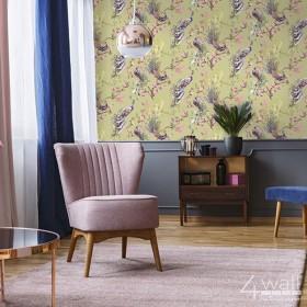 Oliwkowa tapeta w stylu egzotycznym do sypialni aranżacje tapet nowoczesnych
