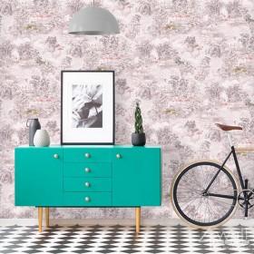 Różowa tapeta nowoczesna w stylu tropikalnym do kobiecego wnętrza
