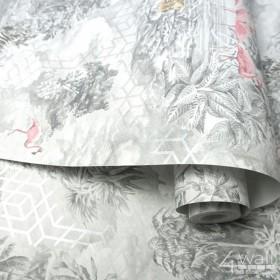 Nowoczesne tapety w stylu tropikalnym szare