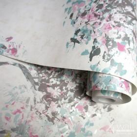 Tapety w drzewa nowoczesne malowane w pastelowych kolorach na białym tle
