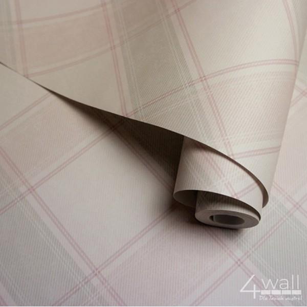 Tapety w różową kratkę w stylu vintage do pokoju dziewczynki