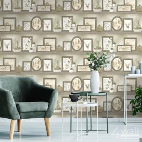 Nowoczesna tapeta do jadalni imitująca półki ze zdjęciami