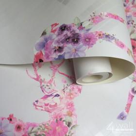 Tapeta skandynawska w różowe renifery