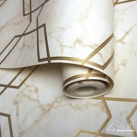 Tapeta 3D w złote geometryczne wzory na marmurze