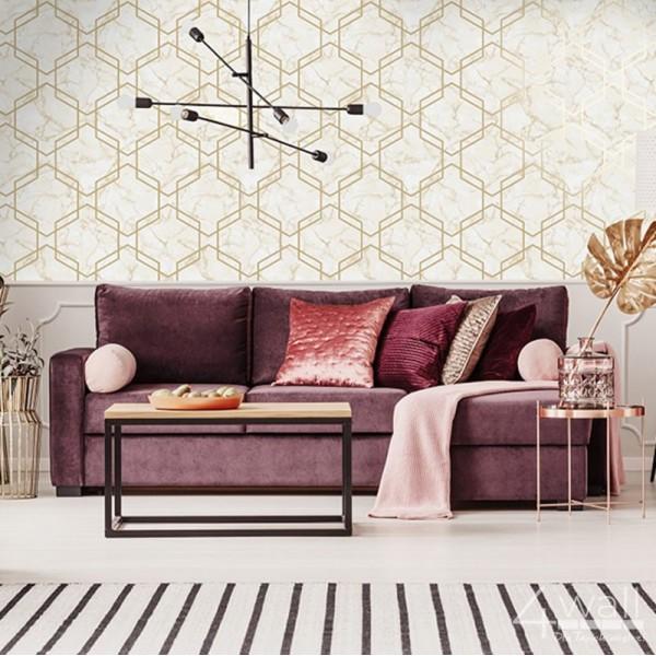 Tapety 3D w złote linie na marmurze do salonu lub jadalni