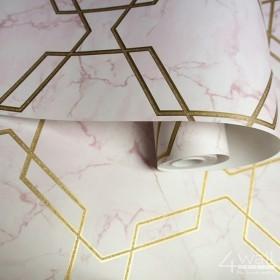 Różowa tapeta w złote linie geometryczna
