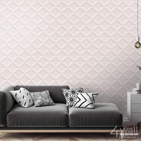 Różowa tapeta w romby 3D do salonu zmywalna na flizelinie aranżacje wnętrza kobiecego