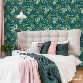 Tapety do sypialni w stylu Glamour na turkusowym tle