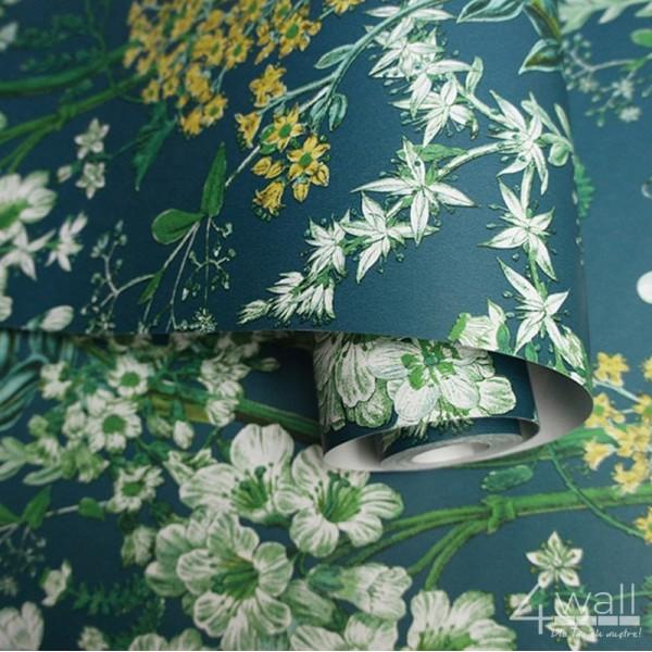 Turkusowa tapeta w kwiaty w stylu Glamour